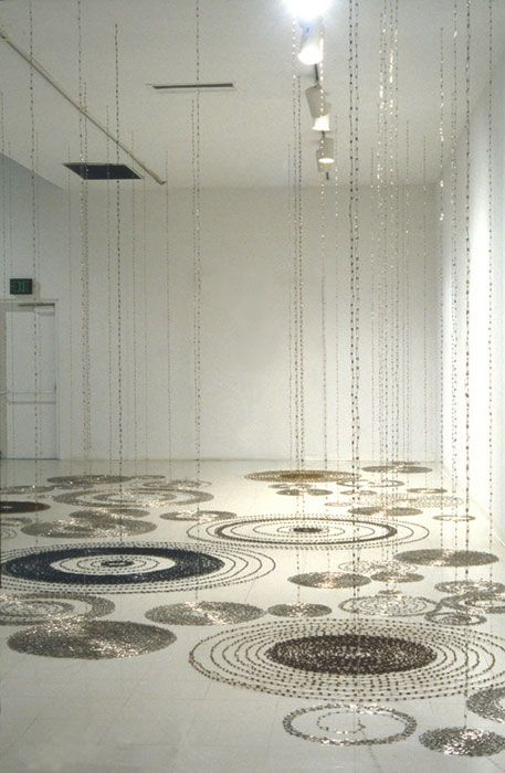 """'Rain Forest/SUNY' from the """"Safety Pin"""" series (2000) by Japanese-born artist Tamiko Kawata. Safety pins, 18 x 45 x 12 ft. via the artist's site"""
