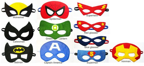 1 felt Superhero Mask - YOU CHOOSE STYLE - Batman Spiderman Ironman Wolverine Catwoman Superhero Superman Hulk Green Lantern Captain America