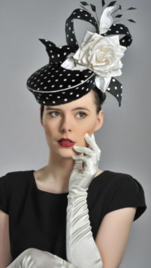 Black & White Polka Dot Pillbox Hat with Upstanding Bow, Black Feathers & Large White Satin Rose ~ by Guibert Millinery ....