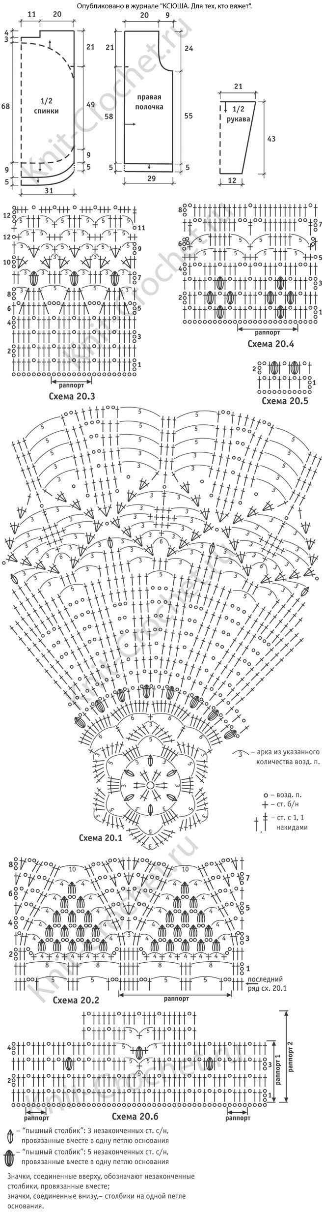 Выкройка, схемы узоров с описанием вязания крючком кардигана в стиле «хиппи».