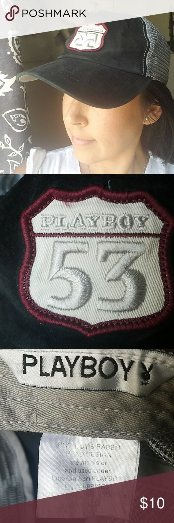 Playboy Trucker Hat Black leather and gray trucker style hat. Good used condition.  Looks great on men and women. Snap back. Hat is flexible in the netting area, not stiff. Playboy Accessories Hats