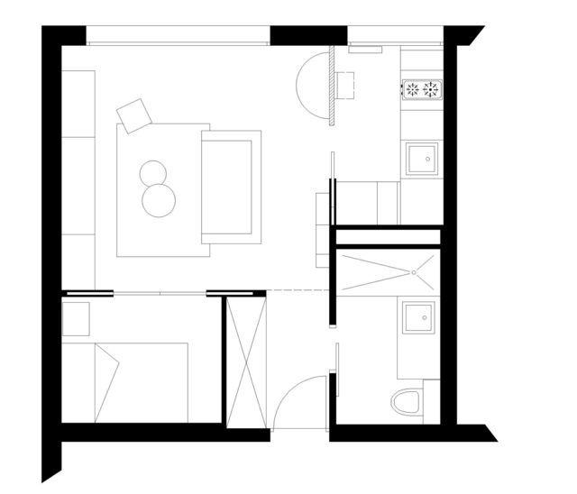 paris 17 un petit appartement de 31 m2 restructur. Black Bedroom Furniture Sets. Home Design Ideas