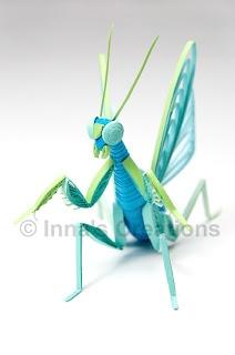 Quilled praying mantis, front view