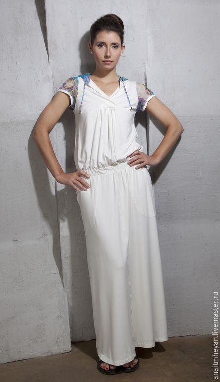 """Купить Платье """"SAN"""" - белый, пейсли, платье, платье летнее, платье в пол, платье трикотажное"""