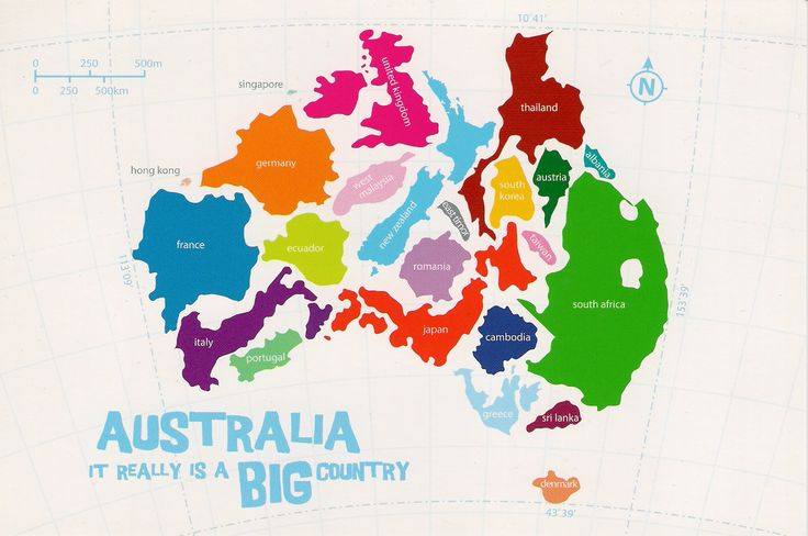 Australia with other countries superimposed to scale