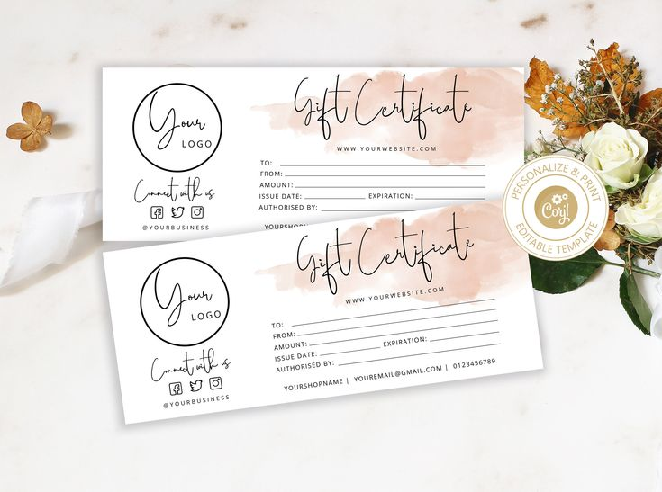 Editable gift certificate template for any business