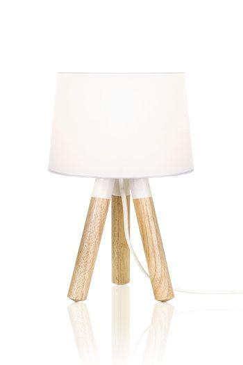 Настольный светильник Oslo - дизайнерский светильник в скандинавском стиле на деревянных ножках. Шведский, скандинавский дизайн. Белый.