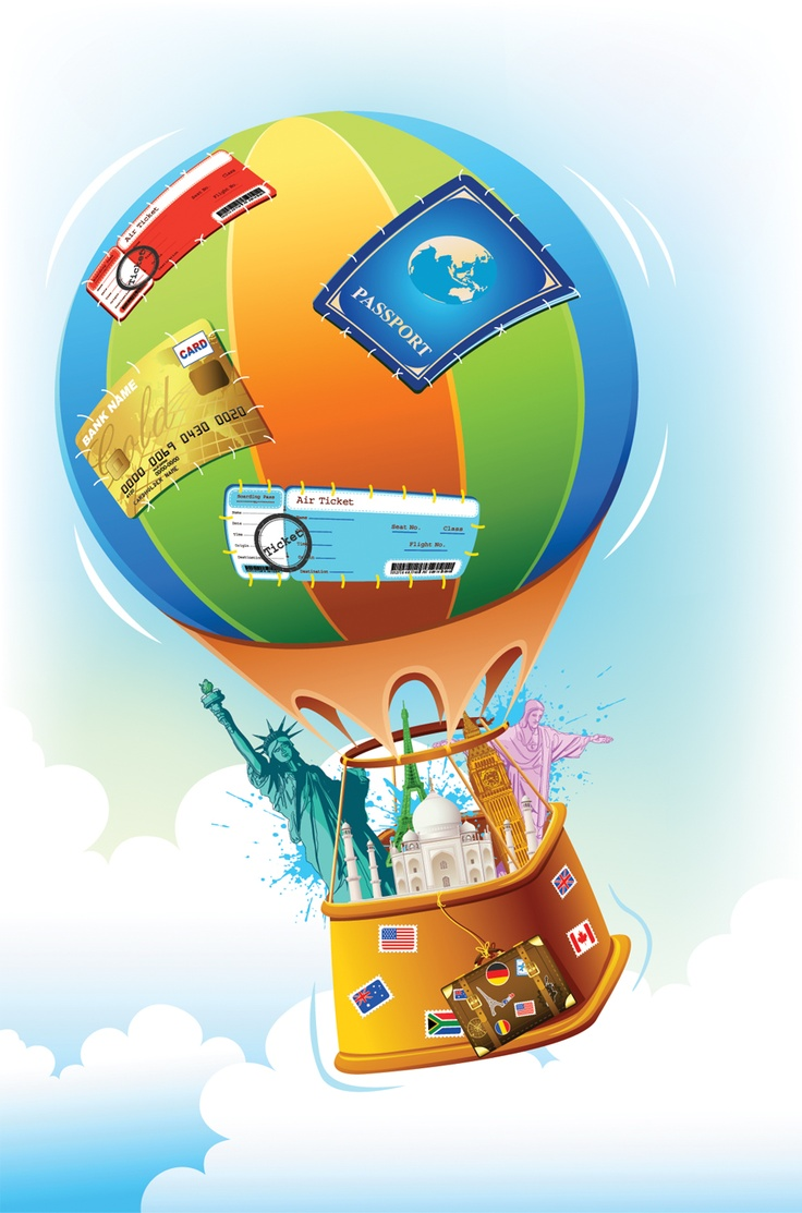 Travel item in hot air balloon vector graphics