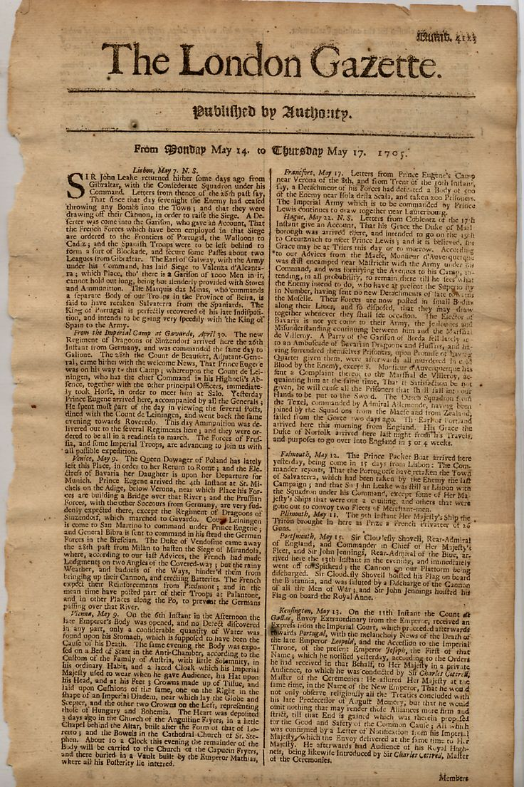 And, of course, there would be no journalism were it not for the printing press. This is a copy of the London Gazette, which was the first regularly published newspaper, and began as the Oxford Gazette in 1665.