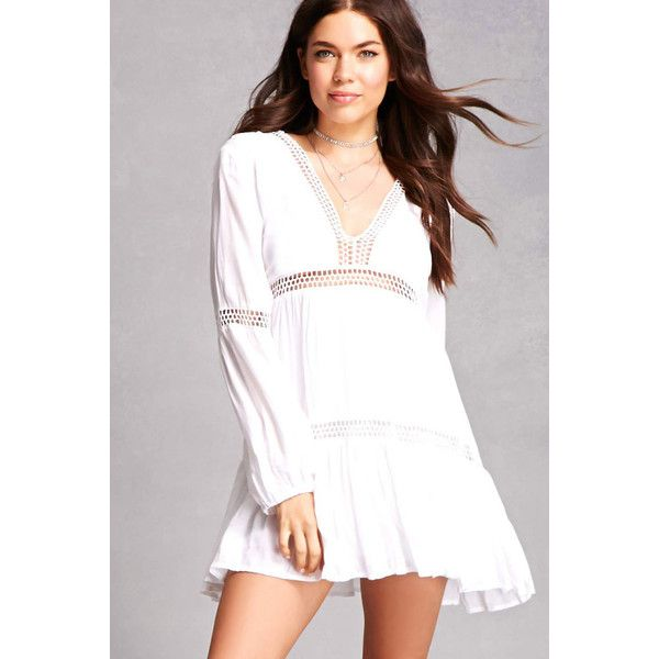 Forever21 Boho Me Crepe Mini Dress (77 NZD) ❤ liked on Polyvore featuring dresses, white, white v neck dress, white sleeve dress, long sleeve mini dress, long-sleeve maxi dress and white long-sleeve dresses