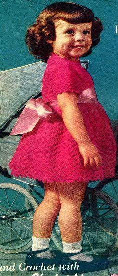 vintage girls crochet dress pattern