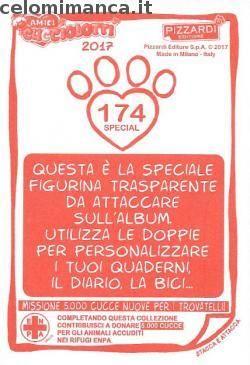 Amici Cucciolotti 2017: Retro Figurina n. 174 Lupo grigio