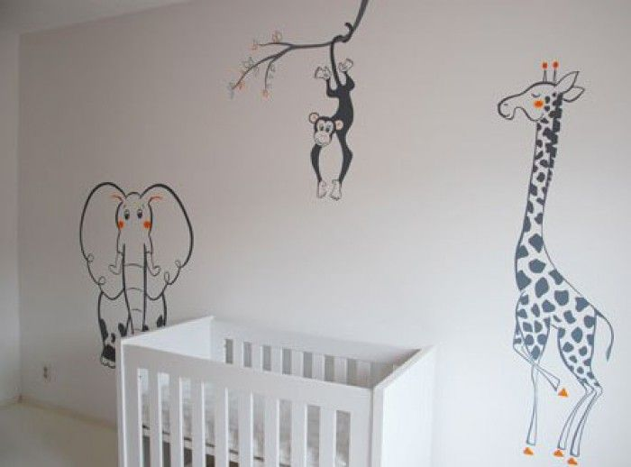 muurschildering babykamer aap - Google zoeken