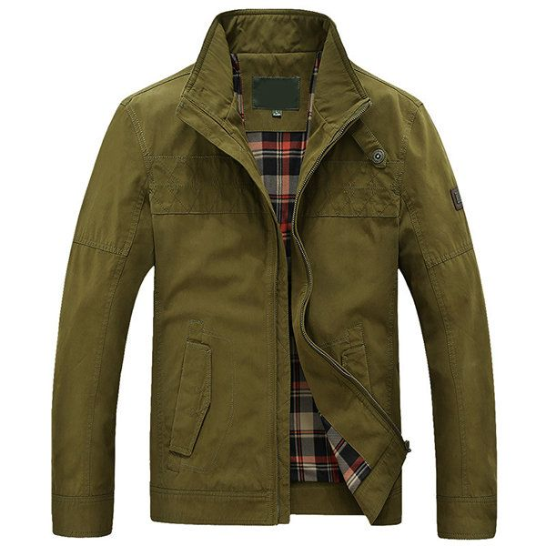 Military Plus Size Casual Outdoor Solid Color Bomber Jacket for Men