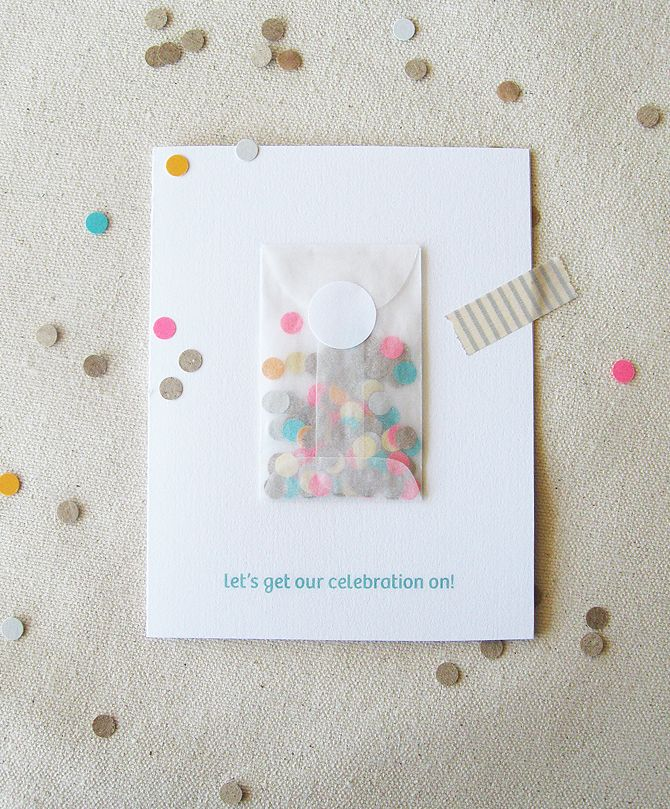 This is a party invitation but it would be a lovely idea to include confetti for a wedding card