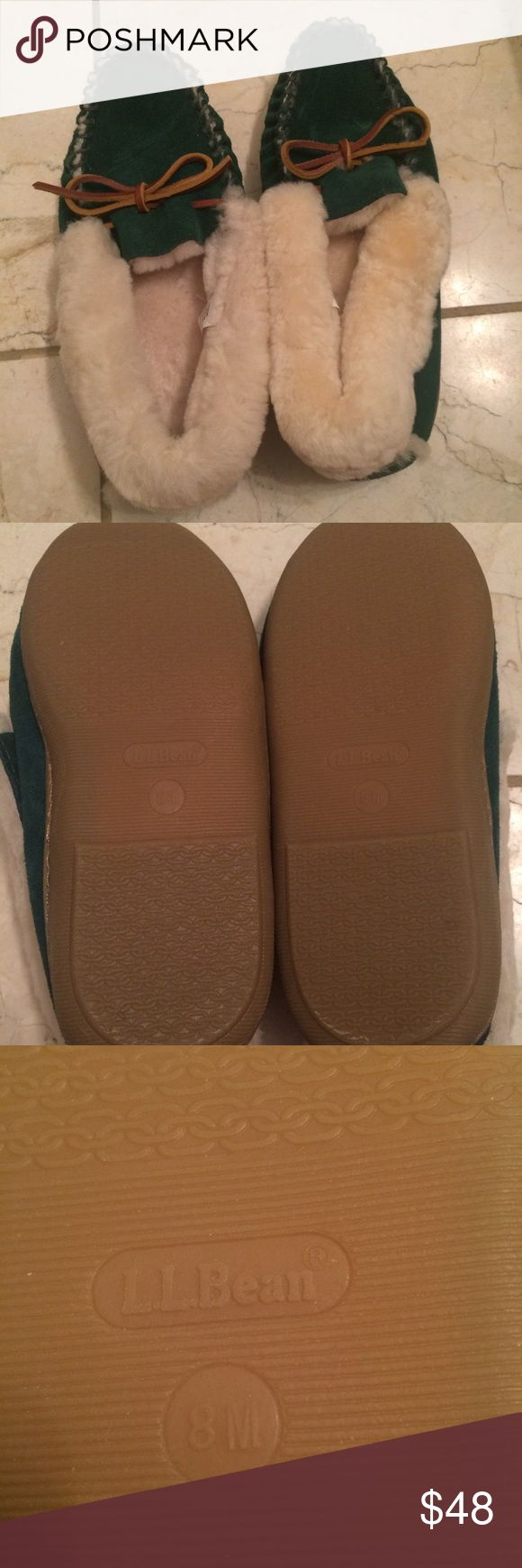LL Bean Slipper/Moccasins Worn once or twice. Rubber sole so you can wear them outside L.L. Bean Shoes Slippers