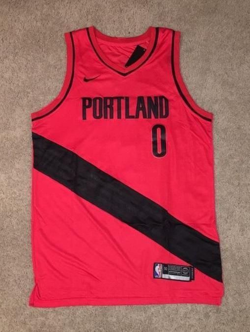 Men 0 Damian Lillard Jersey Red Portland Trail Blazers Authentic Player 302412a0e