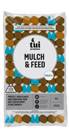Tui Mulch & Feed Give your garden some extra TLC this season with Tui Mulch & Feed. This convenient two-in-one combination provides the benefits of mulching whilst the healthy additions of blood and bone, mulching straw and sheep pellets replace vital nutrients used by your plants #tuiproducts