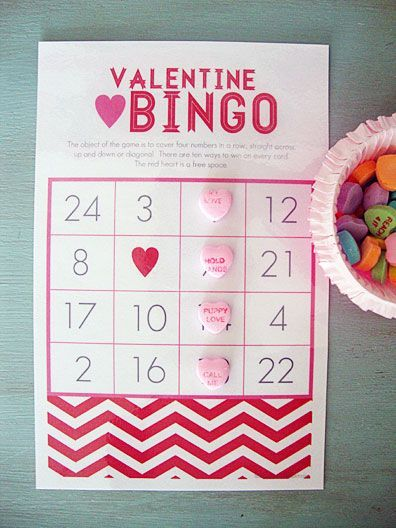 valentine bingo   free printable. Perhaps the winner could do something special, or romantic for the other.