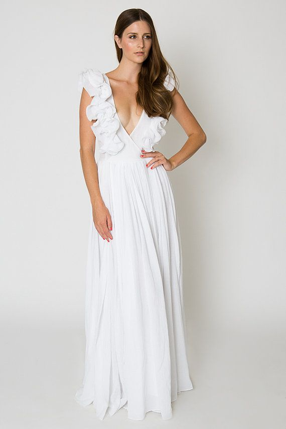 white ruffle bohemian wedding gauze maxi dress beach