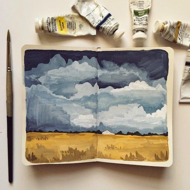 landscapes with an opaque paint: gouache or acrylic