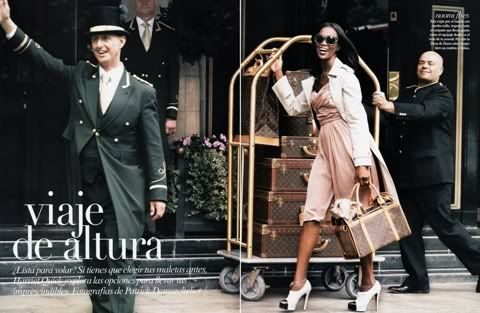 Mexican Vogue November 2008 (Viaje de Altura - Travel in Heights) featuring Naomi Campbell (and iconic Louis Vuitton luggages), photo by Patrick Demarchelier.