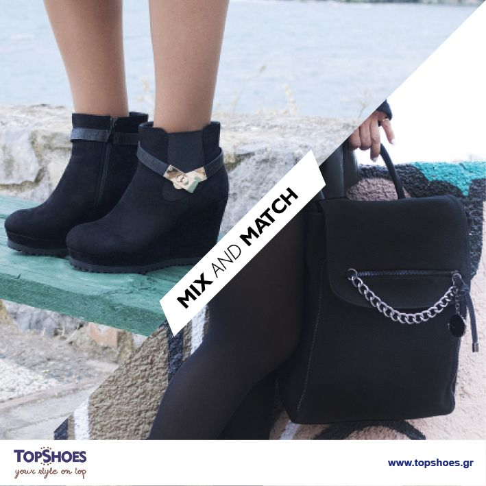 Dress to impress!  Nέα μποτάκια σε μαύρο σαμουά χρώμα και μοναδική τσάντα σε ανθρακί απόχρωση με μεταλλικές λεπτομέρειες!  Ο ιδανικός συνδυασμός κομψότητας, άνεσης και στιλ! Μποτάκι μαύρο σαμούα από συνθετικό δέρμα