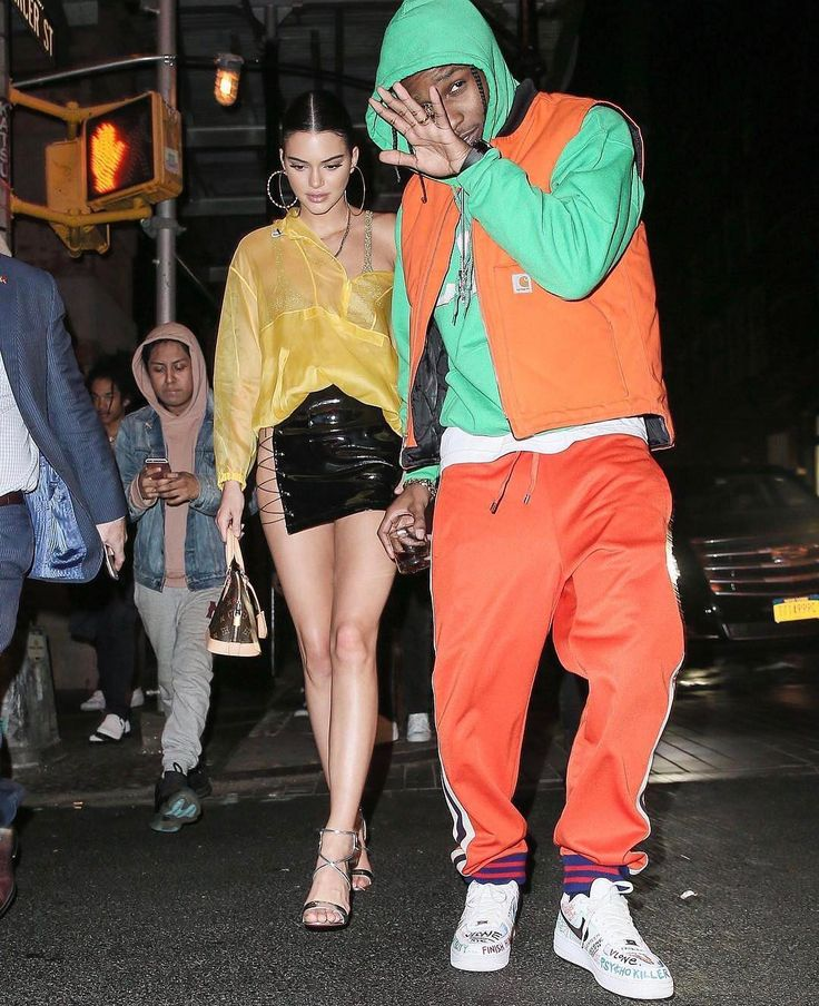 ASAP Rocky Goes To Met Gala With Kendall Jenner Wearing Carhartt x Vlone Vest, Gucci Track Pants and Nike Sneakers  |  UpscaleHype