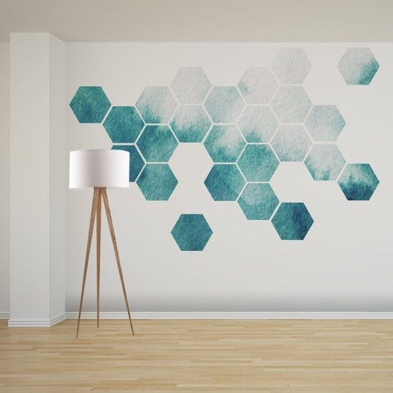 Detachable Honeycomb Wall Decal, 16 or 24 Hexagon Stickers, Self Adhesive Canvas Artwork Sticker, Watercolor Design