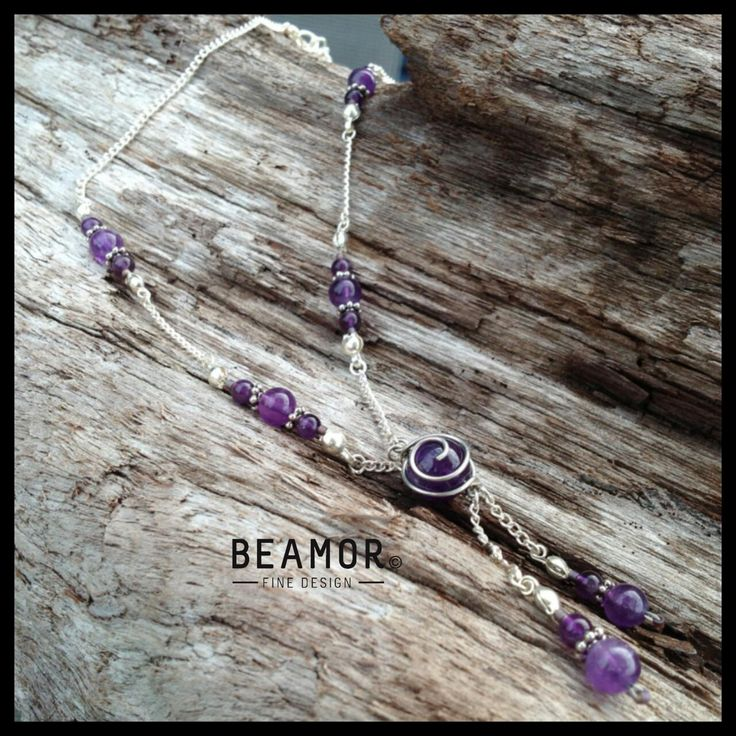 Gemstone Wire swirl wrapped necklace NV.B001 by BeamorFineDesign on Etsy