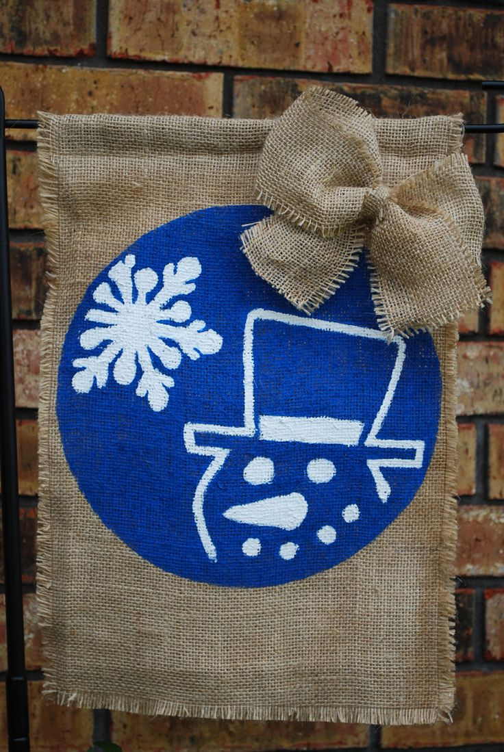 Winter+Snowman+Burlap+Garden+Flag+with+Bow+by+annieslittlehouse,+$20.00