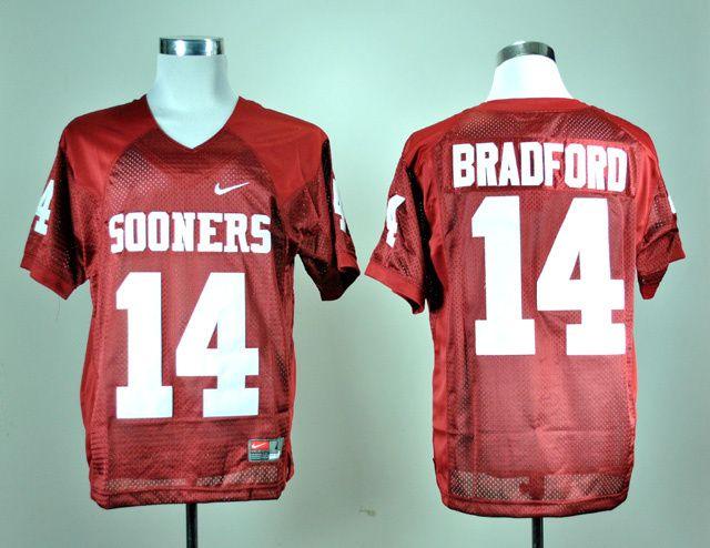 Men's NCAA Oklahoma Sooners #14 Sam Bradford Red Jersey