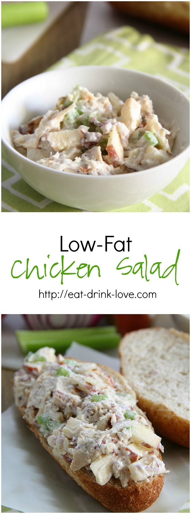 Low-Fat Chicken Salad, absolutely perfect for lunch on the go. Courtesy of @stephday