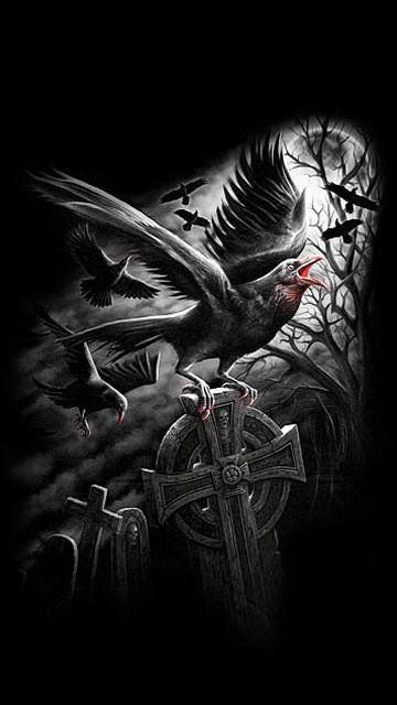 Картинки ангел с вороном и крест
