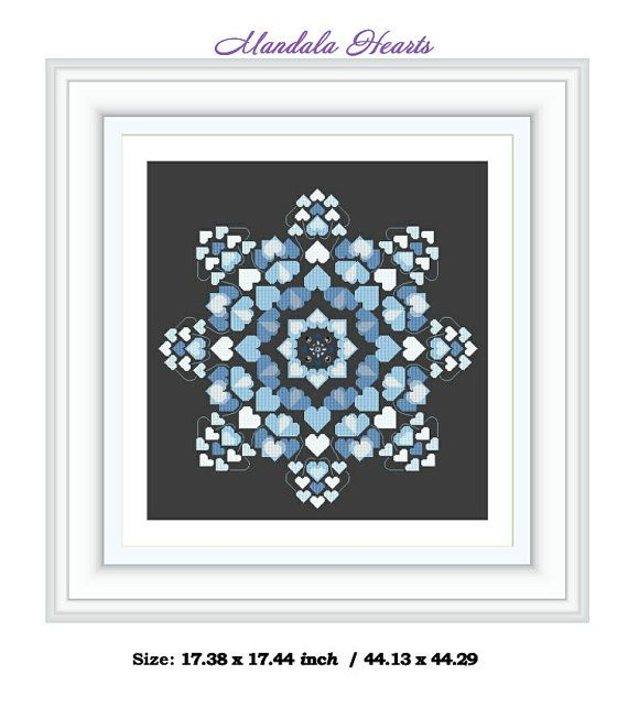 Mandala blue hearts  Cross Stitch Design by JulietRose Instant Download PDF Cross Stitch Embroidery Pattern