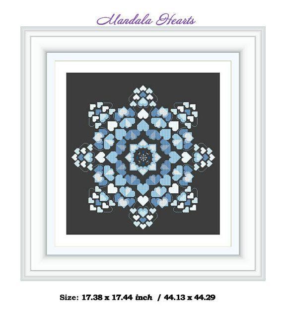 Mandala blue hearts  Cross Stitch Design by JulietRose Instant Download PDF Cross Stitch Embroidery Pattern