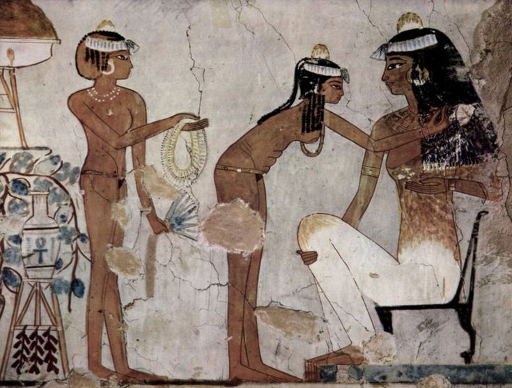 Tomb of Djeserkareseneb (TT38) - I love the tummy ridges in the servant girl as she bends forward.