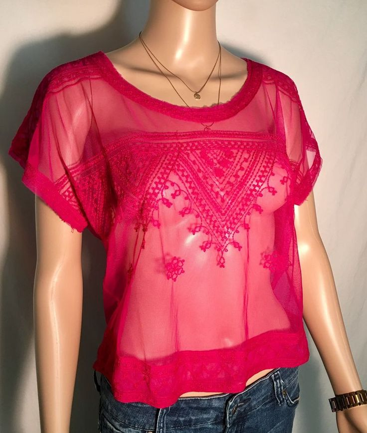 SALE* - Free People Sheer Pink Women's Top - Size M Medium #FreePeople #KnitTop
