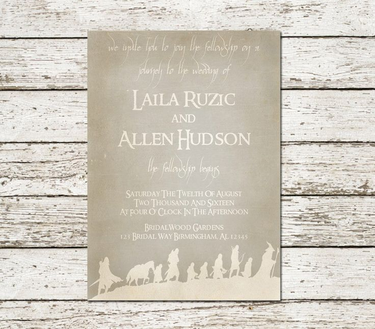 Nerd Wedding Invitations: Lord Of The Rings Wedding Invitation Printable