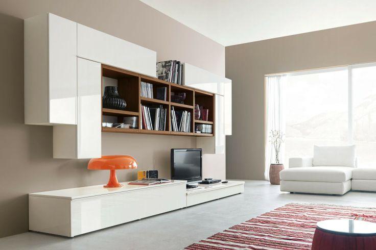 Parete Attrezzata moderna dal design minimalista 548 nella versione total white con libreria noce canaletto | Napol.it