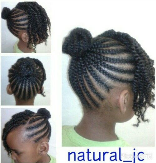 Cornrowed bun twisted bangs