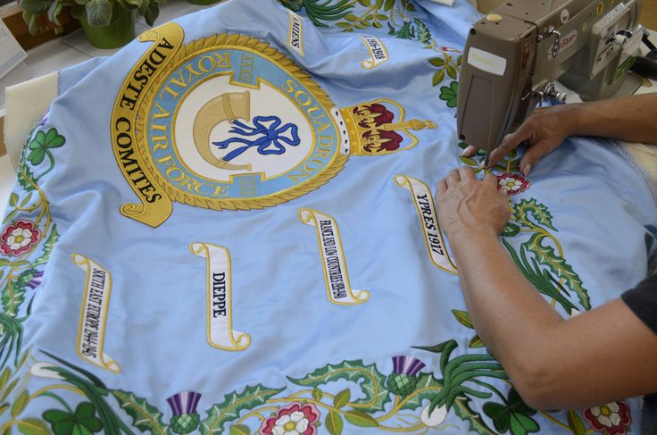 During the embroidering the flag for English partners.