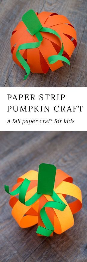 Kids love this easy paper strip pumpkin craft! This simple fall craft includes a free printable template, making it perfect for home or school. #HalloweenCrafts #PumpkinCrafts #fallcraftsforkids via @https://www.pinterest.com/fireflymudpie/
