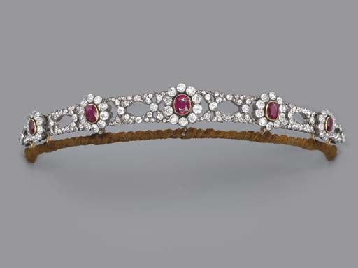 Ruby and Diamond Tiara, Composed of five oval-shaped ruby and diamond clusters to the diamond-set panels of foliate design, mounted in silver and gold, circa 1860. Given by Emperor Franz Joseph (1830-1916) as wedding gifts to Archduchess Elisabeth of Austria (1878-1960), on her marriage in 1903 to Prince Aloys of Liechtenstein (1869-1955)