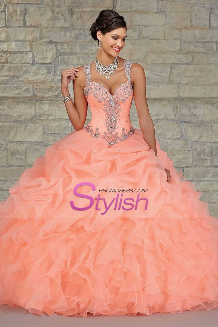 2015 Ball Gown Quinceanera Dresses Straps Beaded Bodice With Bubble Skirt