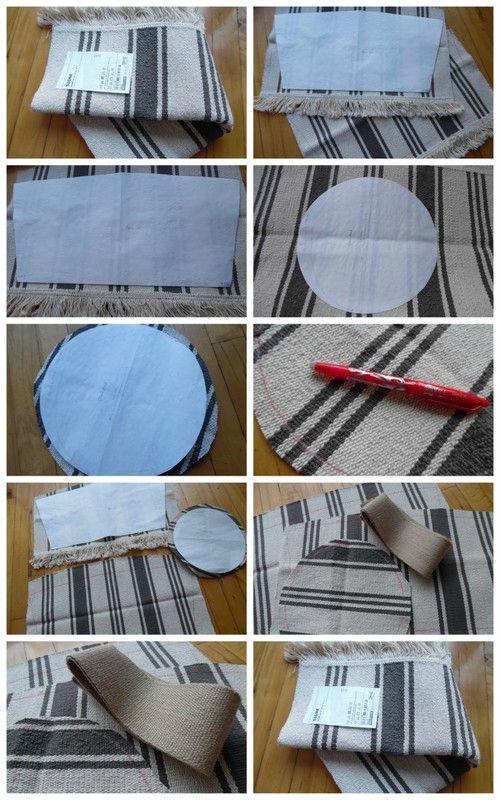 Je vous avais promis de vous le montrer terminé, le voici : Suis partie d'un tapis IKEA en gros cotton détourné pour faire un sac cabas!...