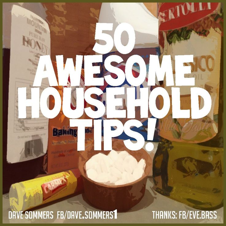 50 Awesome Household Tips (#22 using a tin foil ball to replace dryer sheets really works!) #36, using buttons as earring organizer is a cute one.....