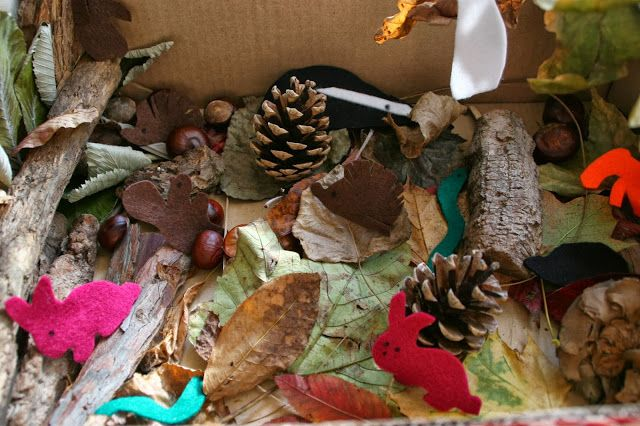 Create with your hands: Autumn Woodland Story Box. I love this idea and there are useful book selections.