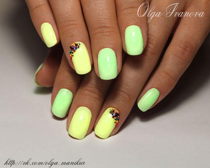 Bright gel polish, Bright summer nails, Fashion nails 2016, Fashion shellacnails, Julynails, Nails with rhinestones ideas, Nails with stones, Party nails