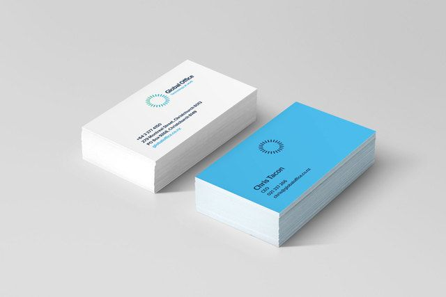 Global Office business card design by Robertson Creative, Christchurch.
